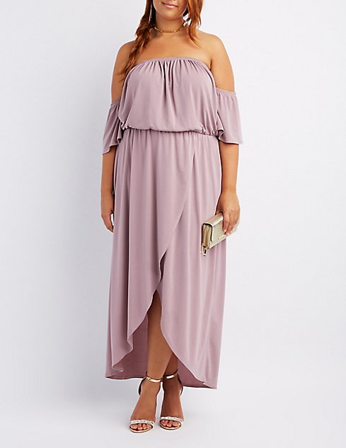 Plus Size Off-The-Shoulder Wrap Maxi Dress | Charlotte Russe