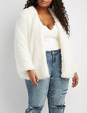 Plus Size Shaggy Faux Fur Jacket