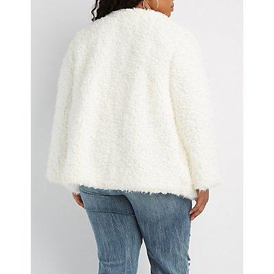 Plus Size Shaggy Faux Fur Jacket