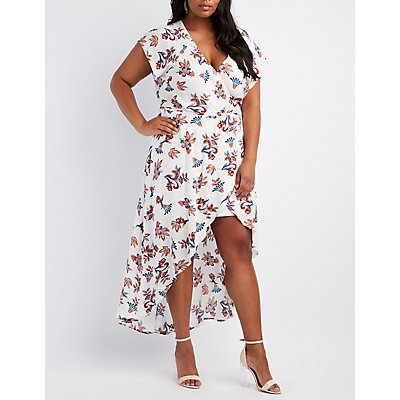 Plus Size Floral Surplice Maxi Wrap Dress