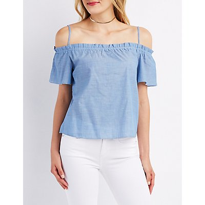 Chambray Cold Shoulder Top