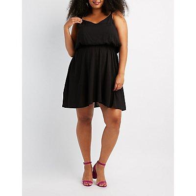 Plus Size Ruffle-Trim Skater Dress