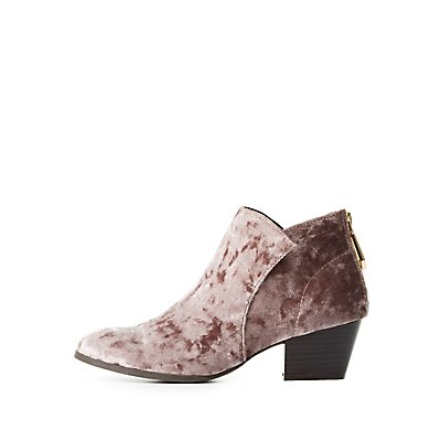 Qupid Velvet Ankle Booties