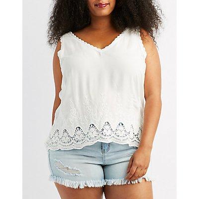 Plus Size Crochet-Trim Tank Top