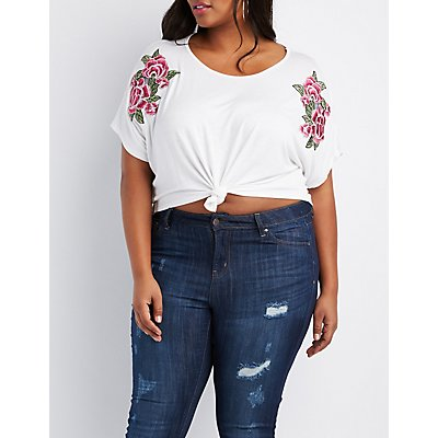Plus Size Rose Embroidered Knotted Tee