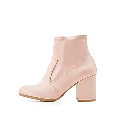 Qupid Satin Block Heel Booties