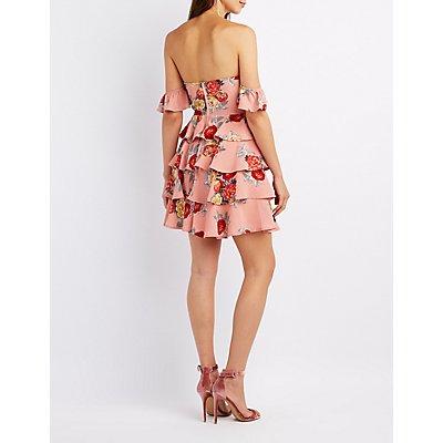 Floral Off-The-Shoulder Bustier Dress