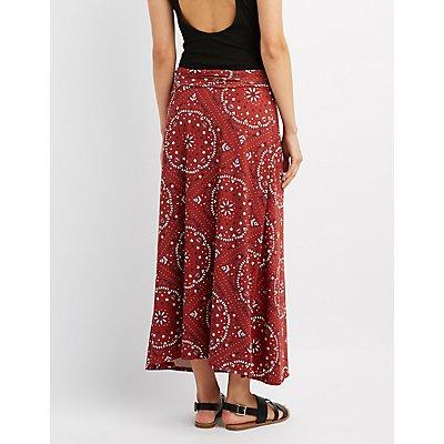 Printed Foldover Maxi Skirt