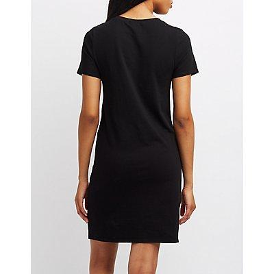 Corset Detail T-Shirt Dress