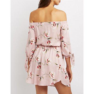 Floral Tie-Sleeve Off-The-Shoulder Skater Dress