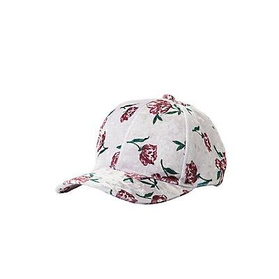 Floral Velvet Baseball Hat