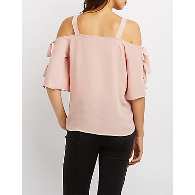 Tie Sleeve Cold Shoulder Top
