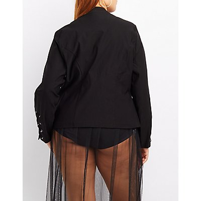 Plus Size Lace-Up Sleeve Blazer