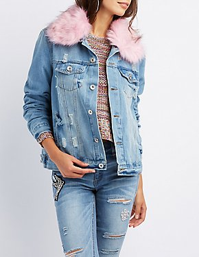 Faux Fur-Trim Denim Jacket