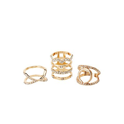 Embellished Cage Rings - 3 Pack