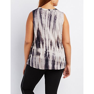 Plus Size Tie Dye Mock Neck Cut-Out Top