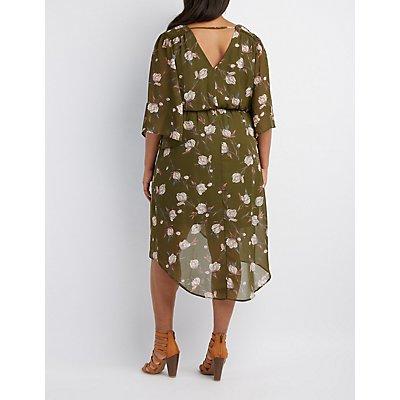 Plus Size Floral Surplice Kimono Dress