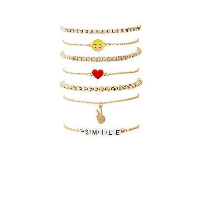 Embellished Layering Bracelets -7 Pack