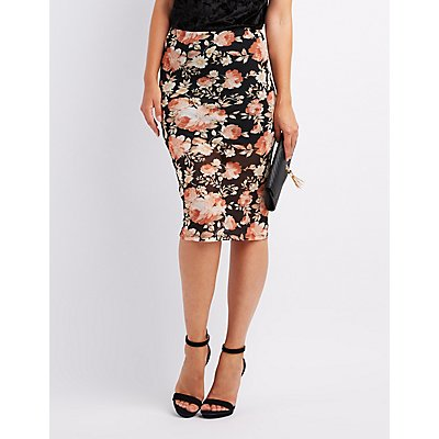 Floral Mesh Pencil Skirt