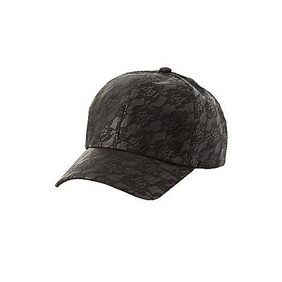 49d7eabc0bb2c9 Charlotte Russe Lace Print Faux Leather Baseball Hat Lace Print Faux Leather  Baseball Hat