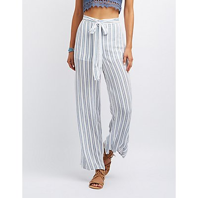 Striped Tie-Front Gauze Palazzo Pants