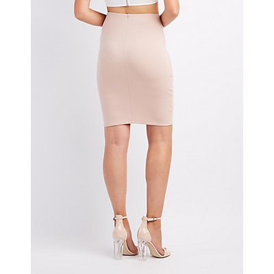 Mesh-Inset Bodycon Skirt