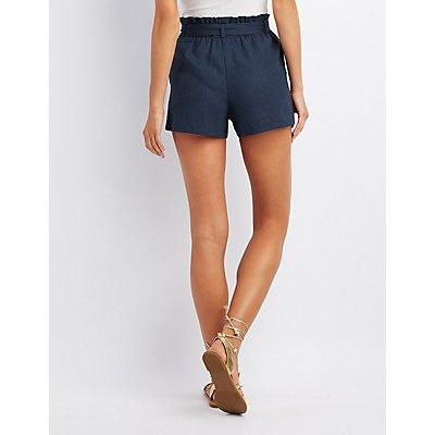Smocked Tie-Front Shorts
