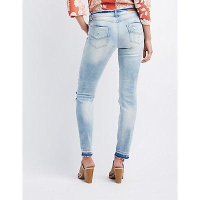 Destroyed Released Hem Skinny Jeans