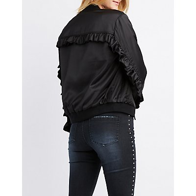 Satin Ruffle-Trim Bomber Jacket