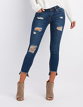 Dollhouse Destroyed Step Hem Skinny Jeans