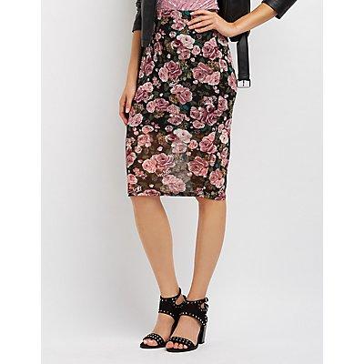 Floral Mesh Bodycon Midi Skirt