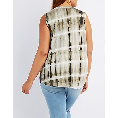 Plus Size Choker Neck Tie Dye Tank Top
