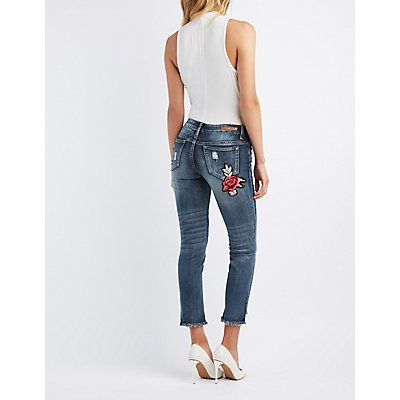 Floral Embroidered Step Hem Destroyed Skinny Jeans