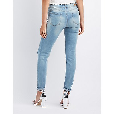 Mid-Rise Destroyed Skinny Jeans