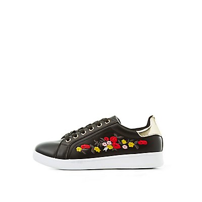 Qupid Floral Embroidered Sneakers