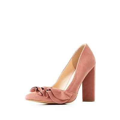 Ruffle-Trim Pointed Toe Pumps