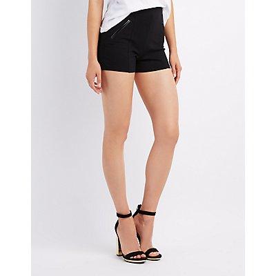 High-Waist Ponte Shorts