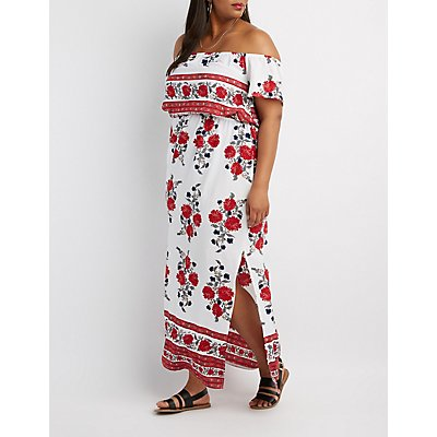 Plus Size Border Print Off-The-Shoulder Maxi Dress