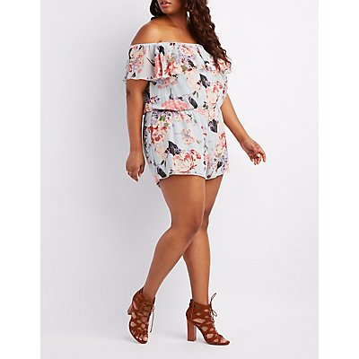 Plus Size Floral Tiered Off-The-Shoulder Romper