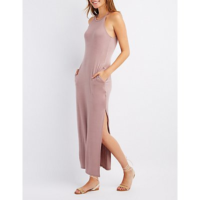Bib Neck Slit Maxi Dress