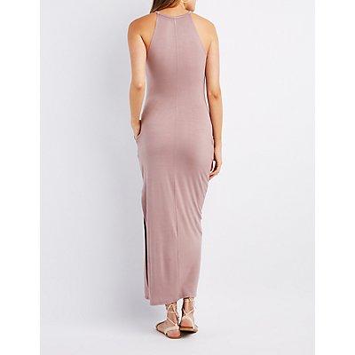 Bib Neck Slit Maxi Dress