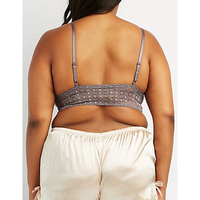 Plus Size Medallion Lace Lattice-Front Bralette