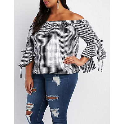 Plus Size Gingham Off-The-Shoulder Bell Sleeve Top