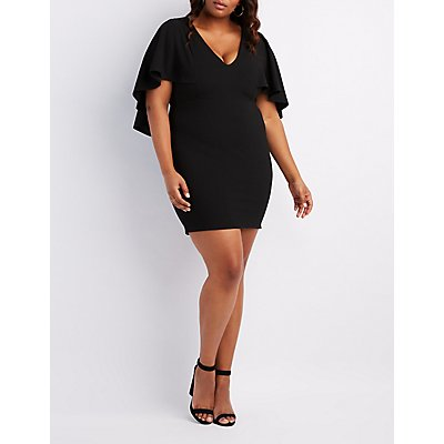 Plus Size Caped Bodycon Dress