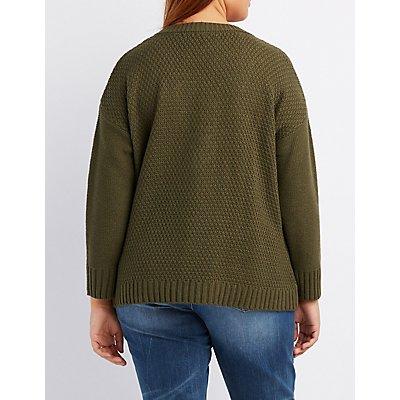 Plus Size Shaker Stitch Lace-Up Sweater