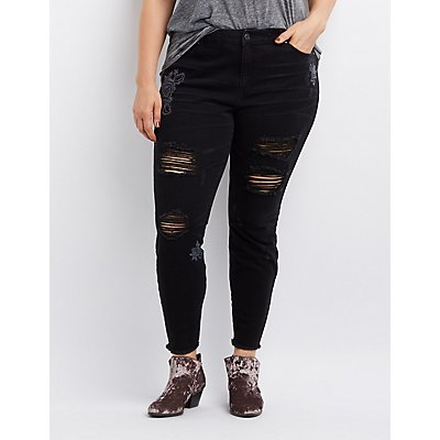 Plus Size Refuge Embroidered Destroyed Skinny Jeans