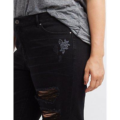 Plus Size Refuge Embroidered Destroyed Skinny Jeans
