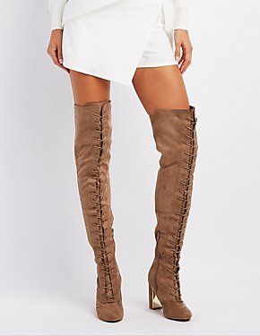 Gold-Trim Lace-Up Over-The-Knee Boots