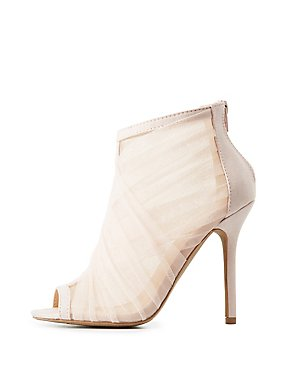 Tulle Wrapped Peep Toe Booties
