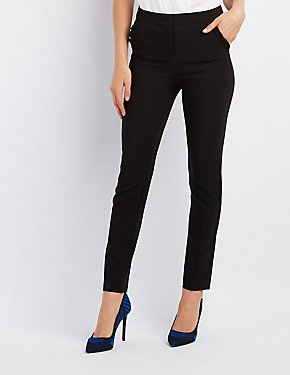 Ruffle-Trim Skinny Trousers